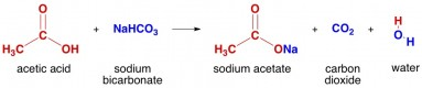 Reaction of acetic acid with sodium bicarbonate to make CO2